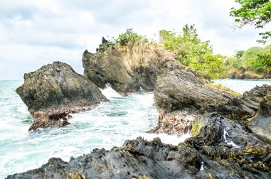 Toco Beach Rock formation, creating a pool within